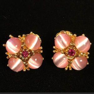5/$25 Pink Glass Cabochon & Rhinestone Earrings